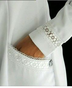 New Dress White Lace Fashion Details Ideas Kurti Sleeves Design, Sleeves Designs For Dresses, Sleeve Designs, Sewing Clothes, Diy Clothes, Clothes For Women, Designer Kurtis, Designer Dresses, Kurta Designs