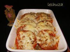 Pasta con atún y champiñones gratinada con queso