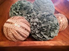 Misty Forest- Decorative Balls, Sage, Green, Taupe, Tan, Gold,  Natural, Deco Balls, Set of 5