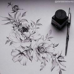 pfingstrosen tattoo - Flower Designs + 120 Models – Tattoos Go … – - Tigh Tattoo, Arm Tattoo, Sleeve Tattoos, Pretty Tattoos, Unique Tattoos, Small Tattoos, Flower Tattoo Designs, Flower Tattoos, Flower Designs