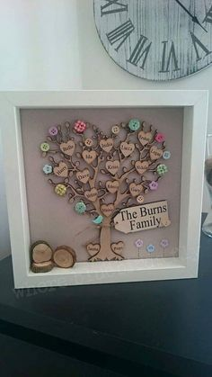 Framed family tree picture, personalised with wooden hearts and scrabble style tiles: