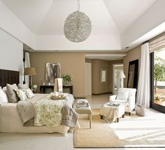 Nice master suite with high ceiling - lots of light and a view of lake