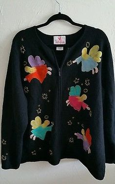 QUACKER FACTORY Holiday Christmas Sweater Plus 2X Zip Up Wool Angels