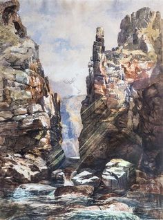 Peter Le Lievre (Guernsey, 1812-1878) 'Port du Moulin, Isle of Sark'waterco