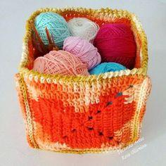 Tecendo Artes em Crochet: Cesto Retangular Com Fios Barroco!