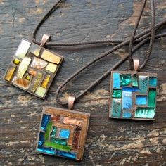 Mosaic Patchwork Pendants by Margaret Almon | Flickr - Photo Sharing!