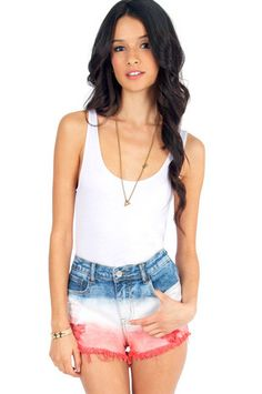 How cute are these for the 4th of July?! High Rise Cutoff Shorts $35 at www.tobi.com