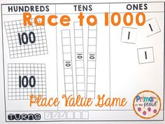 Are you looking for a fun and easy place value game? Try Race to Students form teams, roll dice and build their numbers. The winner is the team to make it the closest to 1000 without going over! Place Value Math Games, Game Place, Math Stations, Math Centers, Second Grade Math, Grade 3, Teaching Place Values, Math Night, Math Numbers