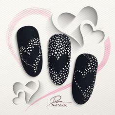 Pin by Nagelstudio Eggesin on Muster Nail Art Saint-valentin, Nail Art Hacks, Valentine's Day Nail Designs, Nail Art Designs Videos, Diy Nails, Manicure, Henna Nails, Nagel Bling, Nail Drawing