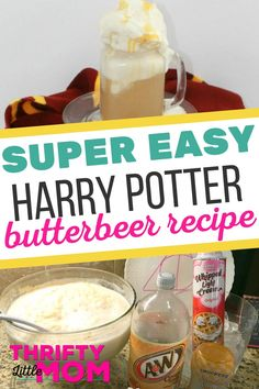 This DIY Harry Potter butter beer recipe is perfect to serve at your next Harry Potter themed party. Kids love learning how to make butterbeer on their own, so you could even set up a station to let them self-serve along with other fun party food. Harry Potter Snacks, Harry Potter Day, Harry Potter Baby Shower, Harry Potter Birthday, Harry Potter Butterbeer, Harry Potter Theme Food, Harry Potter Themed Party, Harry Potter Recipes, How To Make Butterbeer