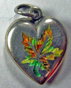 Enameled Tri Color Vintage Sterling Silver Maple Leaf Puffy Heart | eBay