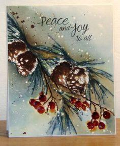 Etampes Brush pine et Berry merry Christmas de Penny Black - par: Micheline 'Mimi' Jourdain---Like the Coloring technique Christmas Cards To Make, Xmas Cards, Christmas Art, Holiday Cards, Christmas Greenery, Holiday Ideas, Vintage Christmas, Christmas Ideas, Greeting Cards