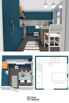 Plan Your Kitchen Design Ideas with RoomSketcher Galley Kitchens, Luxury Kitchens, Living Room Kitchen, New Kitchen, Living Room Remodel, Kitchen Remodel, Kitchen Trends, Kitchen Ideas, Kitchen Layout