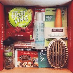 Received my Free Frosty VoxBox today from Influenster.  Can't wait to test out all these products - No7 Protect & Perfect Advanced Sachet, NYC Expert Last Lip Color in Sugar Plum, Celestial Seasonings Candy Cane Lane Decaf Green Tea, EcoTools Hair Brush, Rimmel Gentle Eye Makeup Remover, Rimmel Scandalizes Waterproof Kohl Kajal Eyeliner, McCormick Gourmet Thyme, Fruit Vines Bites.