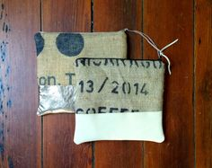upcycled burlap and leather clutch
