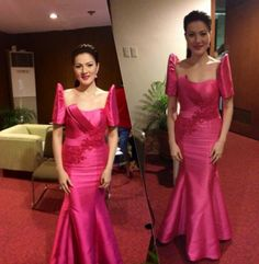 WEBSTA Thank you Pepsi Herrera for my beautiful gown Modern Filipiniana Gown, Filipiniana Wedding, Philippines Dress, Philippines Fashion, Principal Sponsors Gown, Filipino Fashion, Belle Dress, Beautiful Gowns, Traditional Dresses