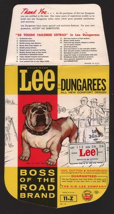 1960s Lee Boss of the Road Dungarees Pocket Flasher 11-Z Model