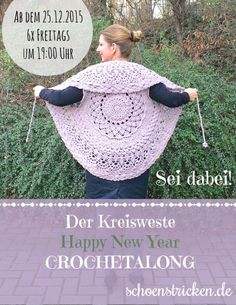 The circle vest cal part 1 Crochet circular vest schoenstricken.de More Always aspired to learn to knit, however unclear where do you start? Poncho Au Crochet, Crochet Cardigan Pattern, Crochet Jacket, Knit Crochet, Knitting Patterns, Crochet Patterns, How To Start Knitting, Crochet Clothes, Baby Knitting