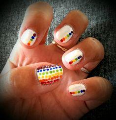 Rainbow dot nails with white base.  #opi #ladyinblack #blackcherrychutneyonthewall #inlybackpocket #bigapplered and kiko blue navy,green and yellow