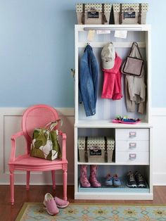 Inspiring & Efficient Family Entryways Apartment Therapy. Colourful uncomfortable chair = perfect.