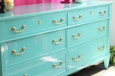 Painted Dresser in Blue ~ Mary Wald's Place - High Gloss Turquoise Dresser - The Resplendent Crow Lacquer Furniture, Bamboo Furniture, Refurbished Furniture, Paint Furniture, Furniture Makeover, Kitchen Furniture, Redoing Furniture, Furniture Cleaning, Turquoise Dresser
