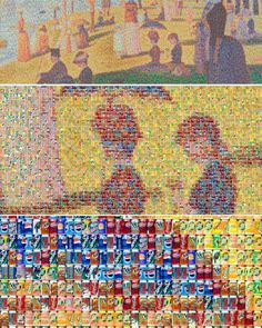 Photographer Chris Jordan ~ Seurat painting created from many small pictures of aluminum cans. The picture is composed of 106,000 cans, which is what the U.S. uses in 30 seconds. via TreeHugger