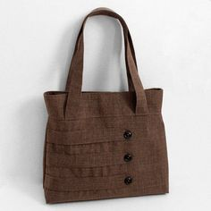 Medium Tote Bag with Decorative Straps in Brown by WhitneyJude| Etsy | $41.00 - Unique, looks like the right size, more interesting than canvas.