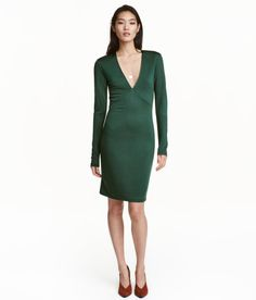 Check this out! Fitted dress in thick jersey with a sheen. Low-cut V-neck and long sleeves. Unlined. - Visit hm.com to see more.