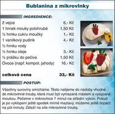 Levně a chutně s Ladislavem Hruškou - Bublanina z mikrovlnky - recept Slovak Recipes, Dessert Recipes, Desserts, Cantaloupe, Microwave, Fruit, Sweet, Food, Tailgate Desserts