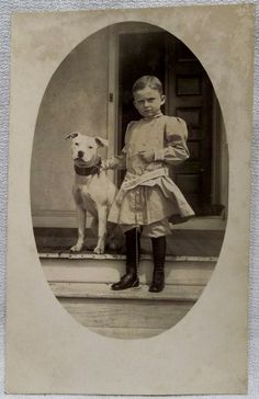 RPPC REAL PHOTO POST CARD YOUNG BOY IN RIDING BOOTS W/ PIT BULL TERRIER DOG