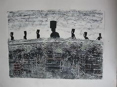 Collograph print with collage Printmaking, Screen Printing, Louvre, Collage, Studio, Artist, Collection, Screen Printing Press, Collages