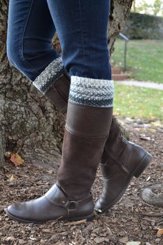 Gray and white striped boot cuffs