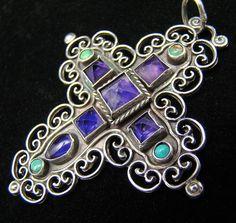 Vintage MATL Matilde Poulat / Salas Amethyst Turquoise Silver Pendant