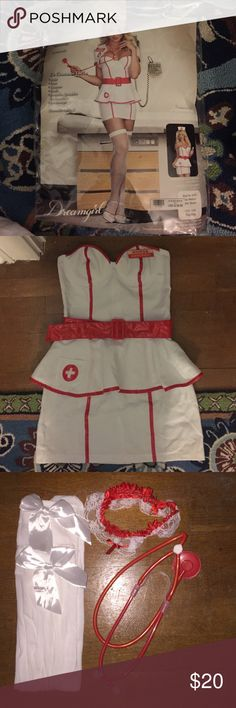 Nurse Halloween Costume Set includes dress, belt, garter belt, thigh high stockings with bows, and stethoscope Other