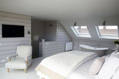 I've long had a thing for Modern Country attic bedrooms. Whether they are the result of a full-scale loft conversion, or simply the delicio. Attic Loft, Loft Room, Bedroom Loft, Home Bedroom, Dream Bedroom, Bedroom Ideas, Loft Conversion Bedroom, Attic Conversion, Loft Conversions