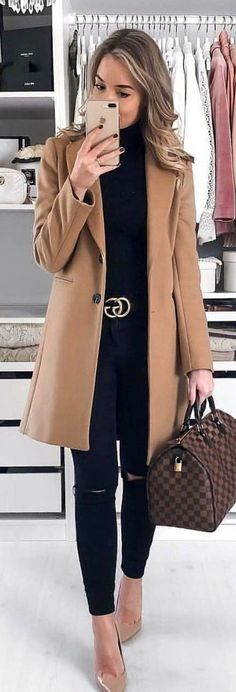 woman on brown coat with Louis Vuitton bag. Pic by - - woman on brown coat with Louis Vuitton bag. Pic by woman on brown coat with Louis Vuitton bag. Spring Outfits Classy, Spring Outfits Women, Spring Fashion Outfits, Cute Winter Outfits, Trendy Fashion, Fall Outfits, Winter Fashion, Fashion Black, Classy Fashion