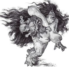 Ojáncana- Cantabrian myth: giantesses with long dark hair, long breasts, and a huge mouth. They abduct children that get lost in the woods. The male is called a Ojáncanu. They do not reproduce sexually. They instead bury the insides of a dead individual under an oak tree, and after 9 months and some incantations, big yellow worms emerge. These worms suckle blood from the breasts of a Ojáncana until they turn into one themselves.