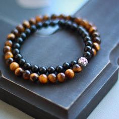 Double Shungite and tiger eye bracelet EMF protection health