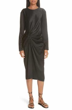 Helmut Lang Ruched Crinkle Satin Dress Top Reviews fc5a363cd