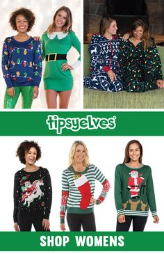 """""""I wish Christmas was more boring,"""" said no one. Bring the party this Christmas season with Tipsy Elves ugly Christmas gear. With high quality materials and hilarious designs, our ugly Christmas apparel is sure to be a hit. Shop 100+ ugly Christmas sweaters, dresses, jumpsuits, leggings, and more!"""