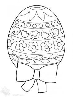 Big detailed 'design your own' Easter egg featuring chicks, a bow and spring flowers.  Website has eggs, bunnies, and Christ is risen/ Cross coloring sheets