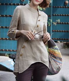 Bamboo Button Irregular Design Shirt. The lines are just beautiful!