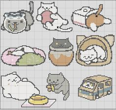 9 in 1 Neko Atsume Cross Stitch Pattern Easy Tiny Patterns by TheSoftScientist…