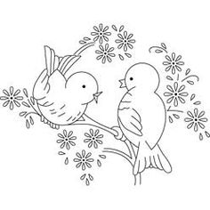 Bluebird embroidery pattern - Decorating the gathering room in a bird motif. Wouldn't these make cute kitchen towels?