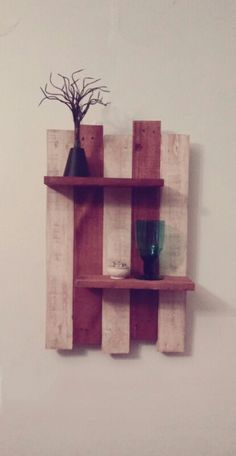 Rustic white washed and stained pallet decor shelves