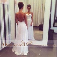 Custom made Sexy Spaghetti Deep Sweet Heart Strap Backless Floor length Beach Wedding Dress Beach Wedding Bridal Summer Wedding Dress