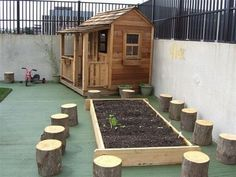 Log stools and garden plot- CUTE! Have the kids sit and listen when you talk about the garden