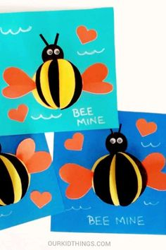 Pop Up Bee Mine Card Pop Up Bee Mine Valentine Card with Free Template Bee Crafts For Kids, Bird Crafts, Preschool Crafts, Diy For Kids, Paper Crafts For Kids, Diy Arts And Crafts, Bee Cards, Art Drawings For Kids, Shape Crafts