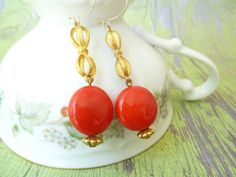 60's Vintage Red and Gold Bow Drop Earrings, pinup, glamour, retro, etsy, photography by LadyLuxeAccessories, $26.00 www.etsy.com/shop/ladyluxeaccessories