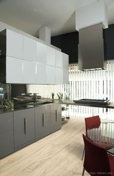 #Kitchen Idea of the Day: Modern Two-Tone Kitchen in Gray and White.